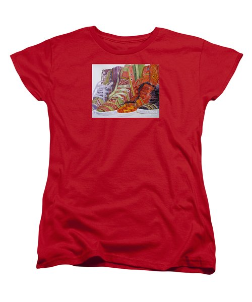 Women's T-Shirt (Standard Cut) featuring the painting Canvas  Hightops by Louise Peardon
