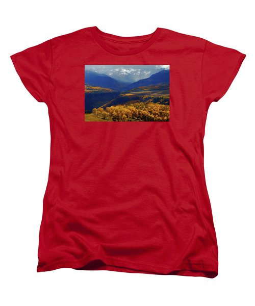 Canyon Shadows And Light From Last Dollar Road In Colorado During Autumn Women's T-Shirt (Standard Cut) by Jetson Nguyen