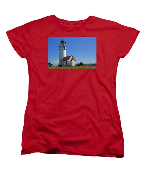 Cape Blanco Lighthouse H Women's T-Shirt (Standard Cut) by Inge Riis McDonald