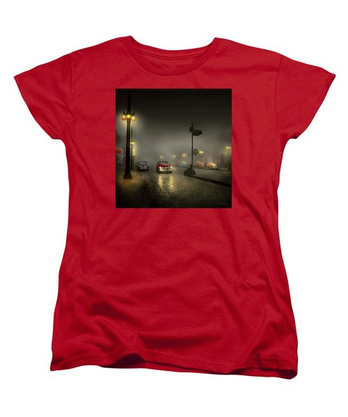 Women's T-Shirt (Standard Cut) featuring the photograph Car - Down A Lonely Road 1940 by Mike Savad