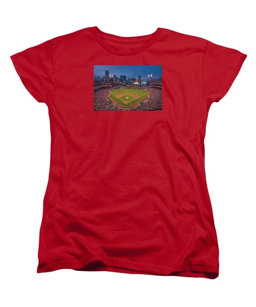 Cardinal Nation Busch Stadium St. Louis Cardinals Twilight 2015 Women's T-Shirt (Standard Cut) by David Haskett