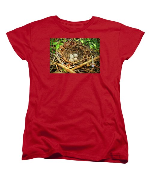Women's T-Shirt (Standard Cut) featuring the photograph Brown Thrasher Nest And Eggs by Bellesouth Studio