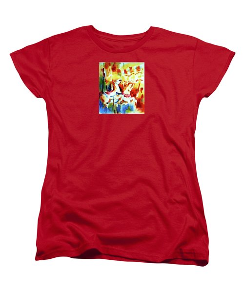 Women's T-Shirt (Standard Cut) featuring the painting Carousal 4 by Kathy Braud