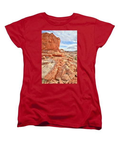 Castle High Above Wash 5 In Valley Of Fire Women's T-Shirt (Standard Cut) by Ray Mathis
