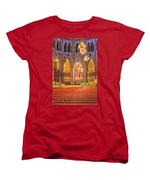 Women's T-Shirt (Standard Cut) featuring the photograph Cathedral Basilica Of The Sacred Heart Newark Nj by Susan Candelario