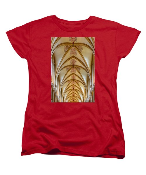 Women's T-Shirt (Standard Cut) featuring the photograph Ceiling, Wells Cathedral. by Colin Rayner