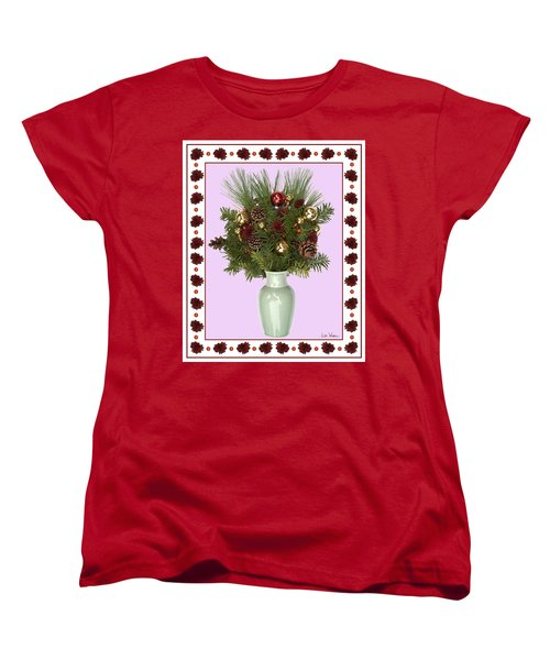 Celadon Vase With Christmas Bouquet Women's T-Shirt (Standard Cut) by Lise Winne