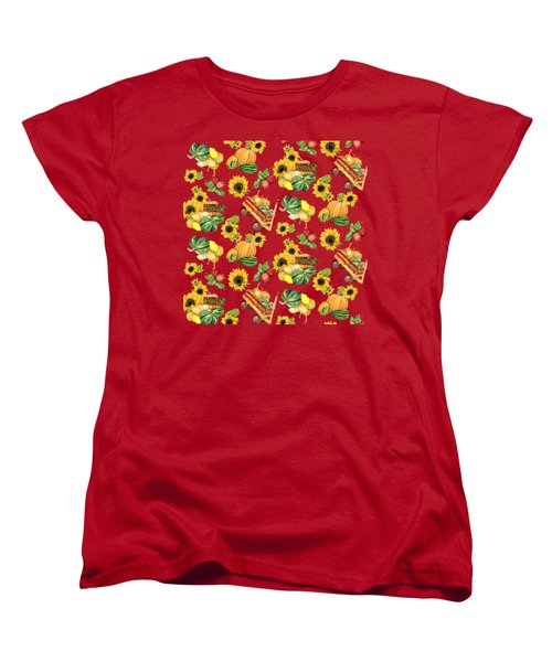 Celebrate Abundance Harvest Half Drop Repeat Women's T-Shirt (Standard Cut) by Audrey Jeanne Roberts