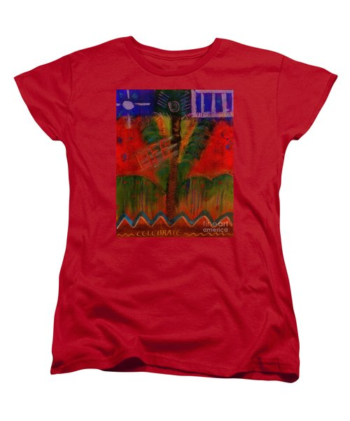 Women's T-Shirt (Standard Cut) featuring the painting Celebrate Life by Angela L Walker
