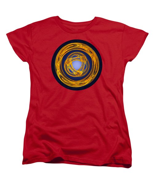 Women's T-Shirt (Standard Cut) featuring the digital art Celtic Abstract On Blue by Jane McIlroy