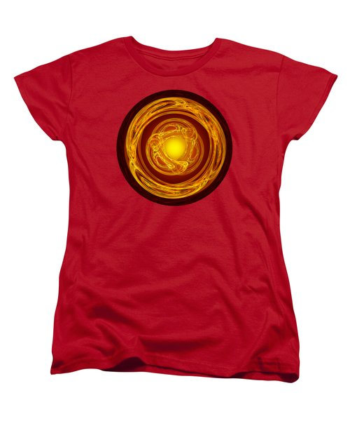 Celtic Abstract On Red Women's T-Shirt (Standard Cut) by Jane McIlroy