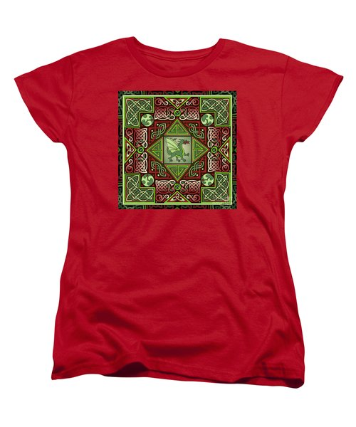 Women's T-Shirt (Standard Cut) featuring the mixed media Celtic Dragon Labyrinth by Kristen Fox