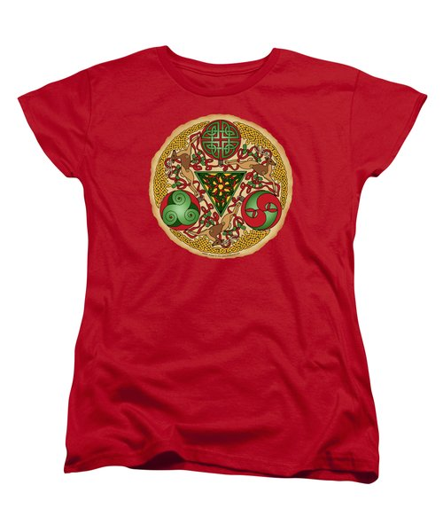 Women's T-Shirt (Standard Cut) featuring the mixed media Celtic Reindeer Shield by Kristen Fox