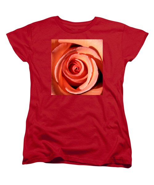 Women's T-Shirt (Standard Cut) featuring the photograph Center Of The Peach Rose by Barbara Chichester