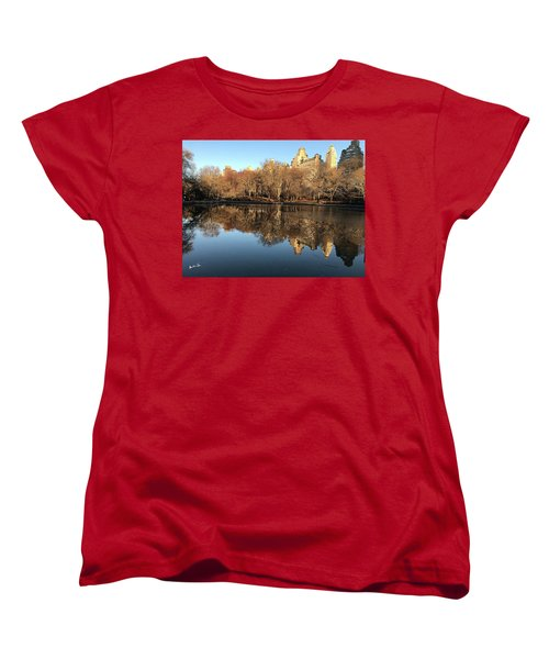 Women's T-Shirt (Standard Cut) featuring the photograph Central Park City Reflections by Madeline Ellis