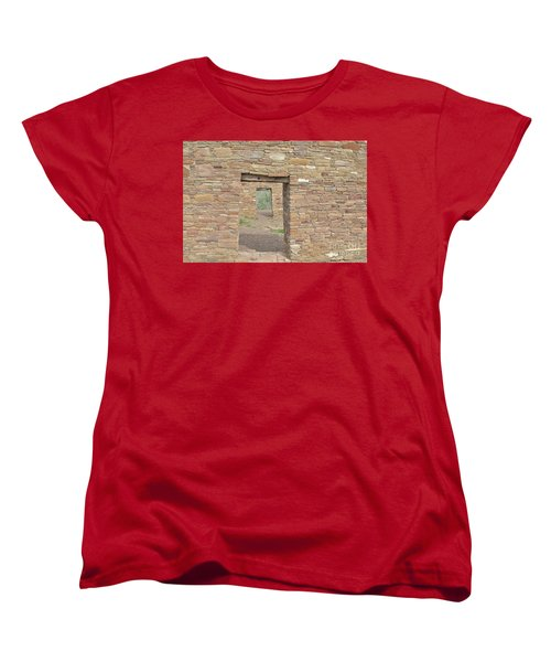 Women's T-Shirt (Standard Cut) featuring the photograph Chaco Canyon Doors by Debby Pueschel