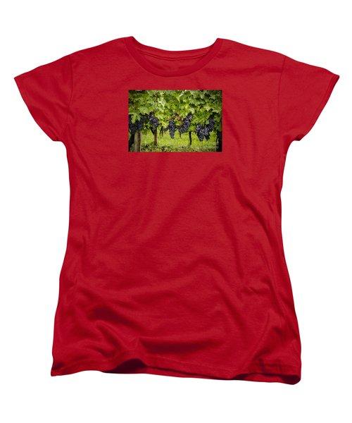 Chardonnay Grape Cluster Women's T-Shirt (Standard Cut) by Perry Van Munster