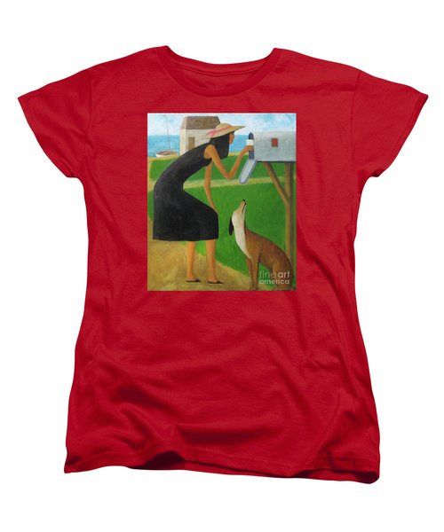 Women's T-Shirt (Standard Cut) featuring the painting Checking The Box by Glenn Quist