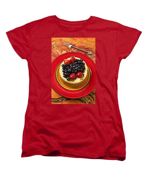 Cheesecake On Red Plate Women's T-Shirt (Standard Cut) by Garry Gay