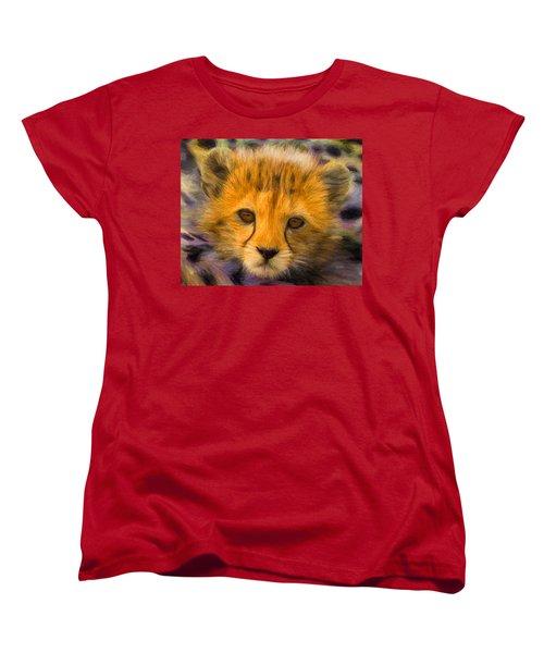 Cheetah Cub Women's T-Shirt (Standard Cut) by Caito Junqueira