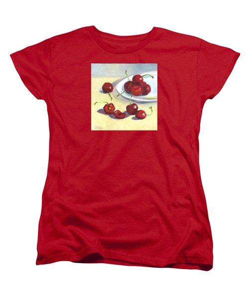 Cherries On A Plate Women's T-Shirt (Standard Cut) by Susan Thomas