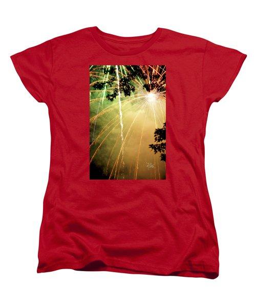 Women's T-Shirt (Standard Cut) featuring the photograph Chetola Yellow Fireworks by Meta Gatschenberger