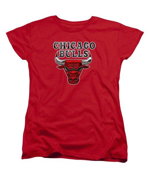 Chicago Bulls - 3 D Badge Over Flag Women's T-Shirt (Standard Cut)