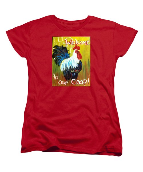 Women's T-Shirt (Standard Cut) featuring the painting Chicken  Welcome Sign 1 by Belinda Lawson
