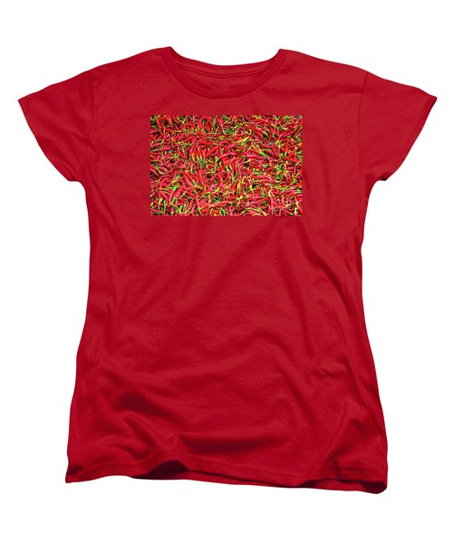 Women's T-Shirt (Standard Cut) featuring the photograph Chillies by Charuhas Images