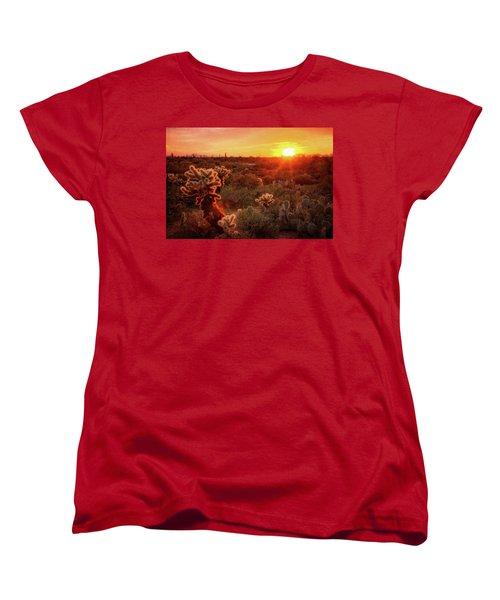 Women's T-Shirt (Standard Cut) featuring the photograph Cholla Sunset In The Sonoran  by Saija Lehtonen
