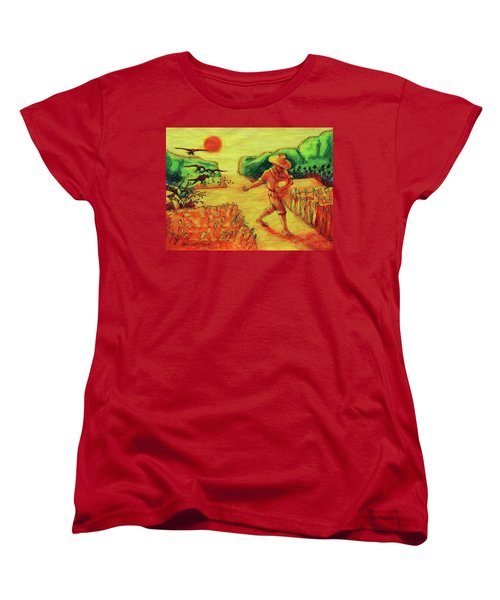 Women's T-Shirt (Standard Cut) featuring the painting Christian Art Parable Of The Sower Artwork T Bertram Poole by Thomas Bertram POOLE