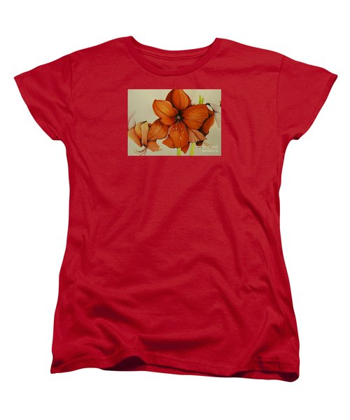 Christmas Amaryllis Women's T-Shirt (Standard Cut) by Rachel Lowry