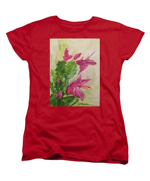 Women's T-Shirt (Standard Cut) featuring the painting Christmas Cactus by Wendy Shoults
