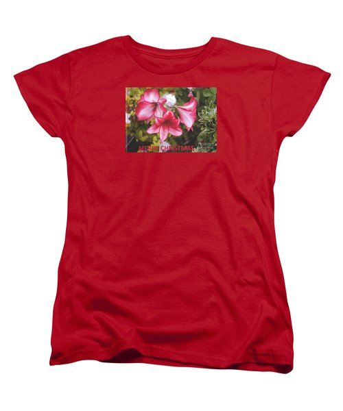 Women's T-Shirt (Standard Cut) featuring the photograph Christmas Card - Amorillis by Rod Ismay