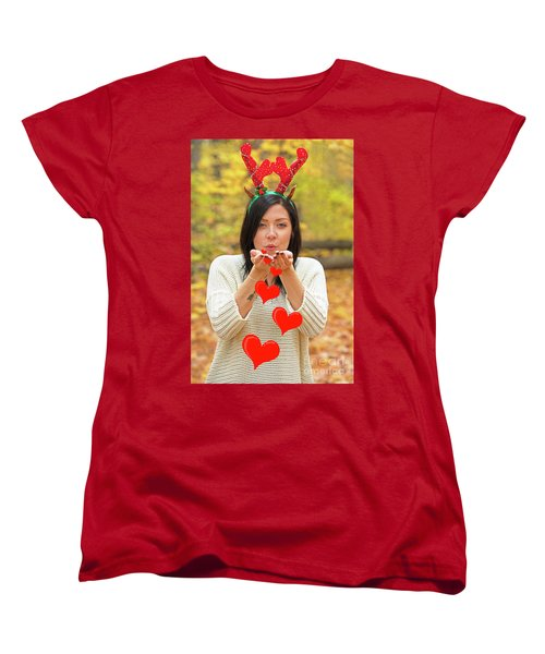 Women's T-Shirt (Standard Cut) featuring the photograph Christmas Kisses.. by Nina Stavlund