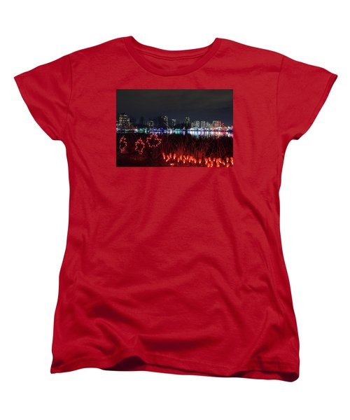 Christmas Lights At Lafarge Lake In City Of Coquitlam Women's T-Shirt (Standard Fit)