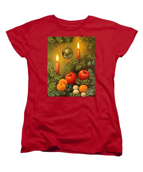 Women's T-Shirt (Standard Cut) featuring the painting Christmas Lights by Inese Poga