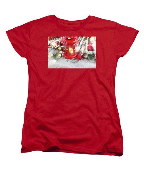 Christmas Red Lantern  Women's T-Shirt (Standard Cut) by Anastasy Yarmolovich