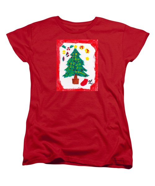 Women's T-Shirt (Standard Cut) featuring the painting Christmas Tree by Artists With Autism Inc