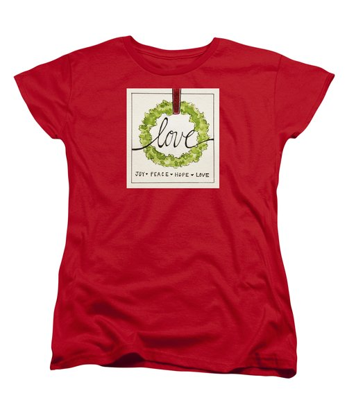 Women's T-Shirt (Standard Cut) featuring the painting Christmas Wreath by Elizabeth Robinette Tyndall