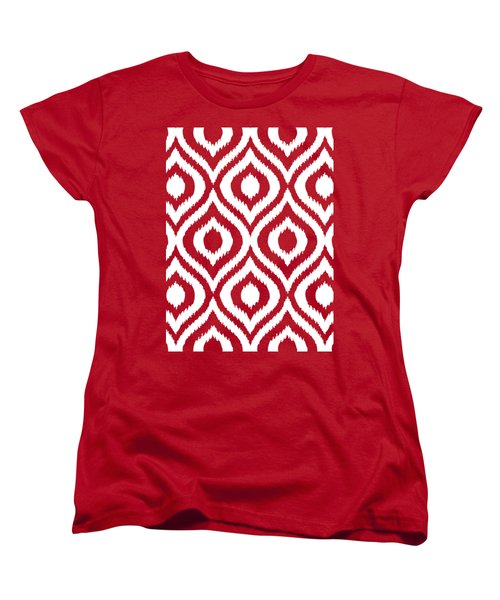 Circle And Oval Ikat In White N03-p0100 Women's T-Shirt (Standard Fit)