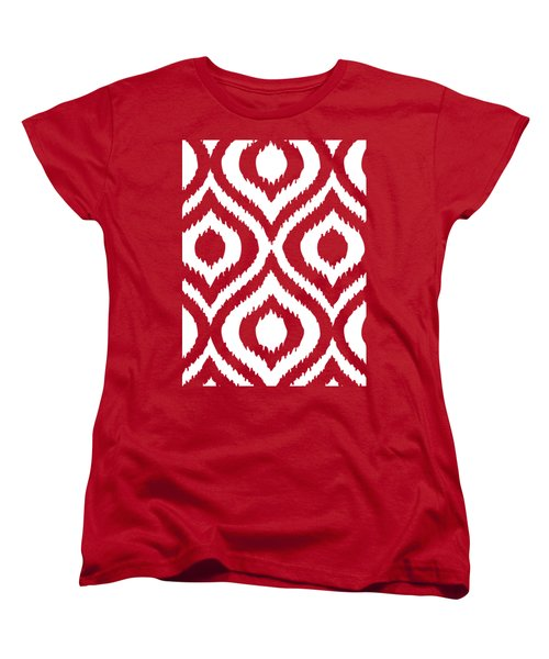 Circle And Oval Ikat In White T02-p0100 Women's T-Shirt (Standard Fit)