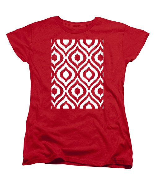 Circle And Oval Ikat In White T03-p0100 Women's T-Shirt (Standard Fit)