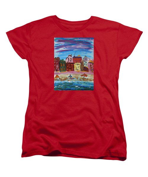 City With A Pink Boardwalk Women's T-Shirt (Standard Cut) by Mary Carol Williams