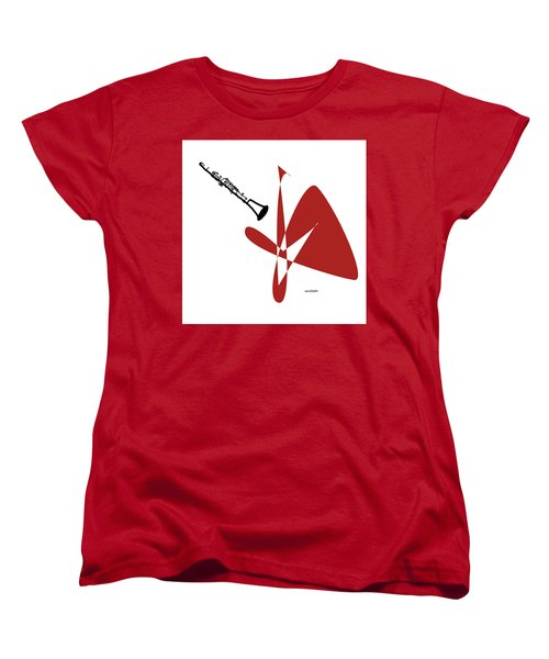 Clarinet In Orange Red Women's T-Shirt (Standard Cut) by David Bridburg