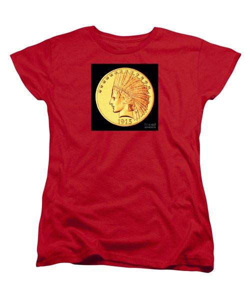 Classic Indian Head Gold Women's T-Shirt (Standard Cut) by Jim Carrell