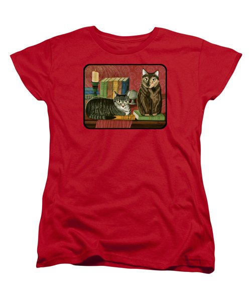 Classic Literary Cats Women's T-Shirt (Standard Cut) by Carrie Hawks