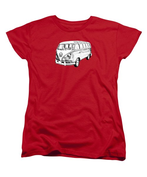 Classic Vw 21 Window Mini Bus Illustration Women's T-Shirt (Standard Cut) by Keith Webber Jr