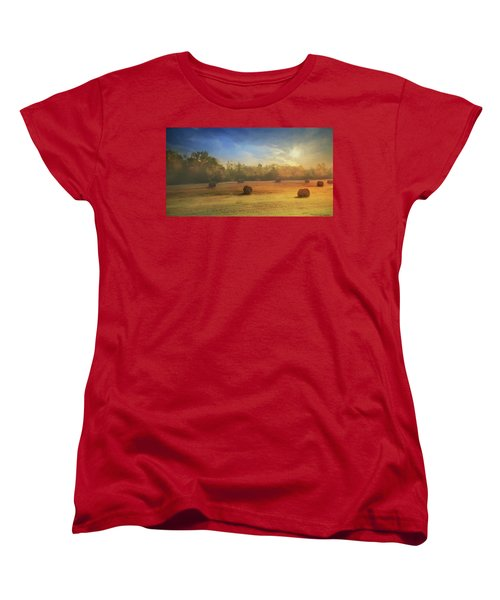 Women's T-Shirt (Standard Cut) featuring the photograph Clayton Morning Mist by Lori Deiter