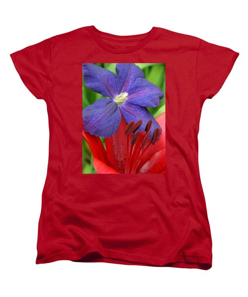 Clematis And Lily Women's T-Shirt (Standard Cut) by Rebecca Overton